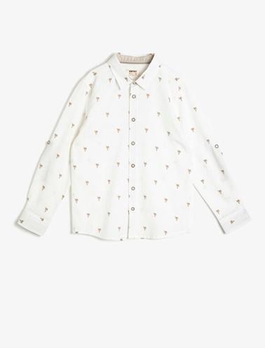 Koton Kids Desenli Gömlek Beyaz